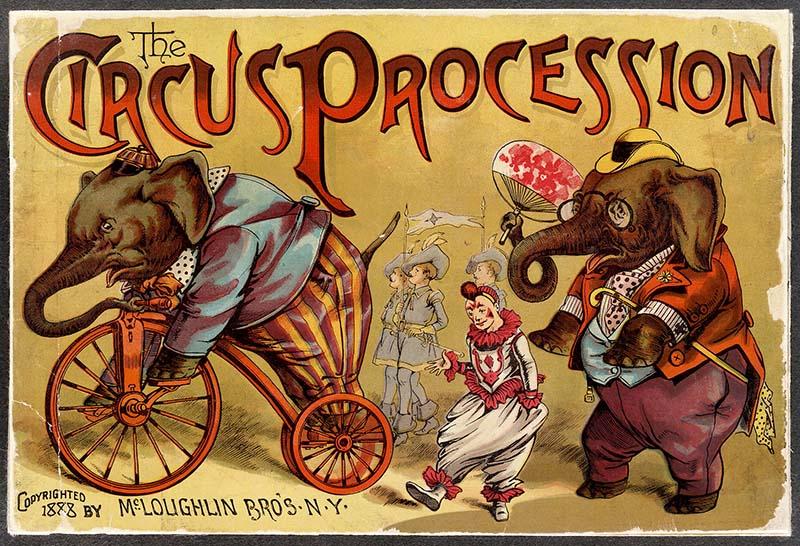circus elephant procession
