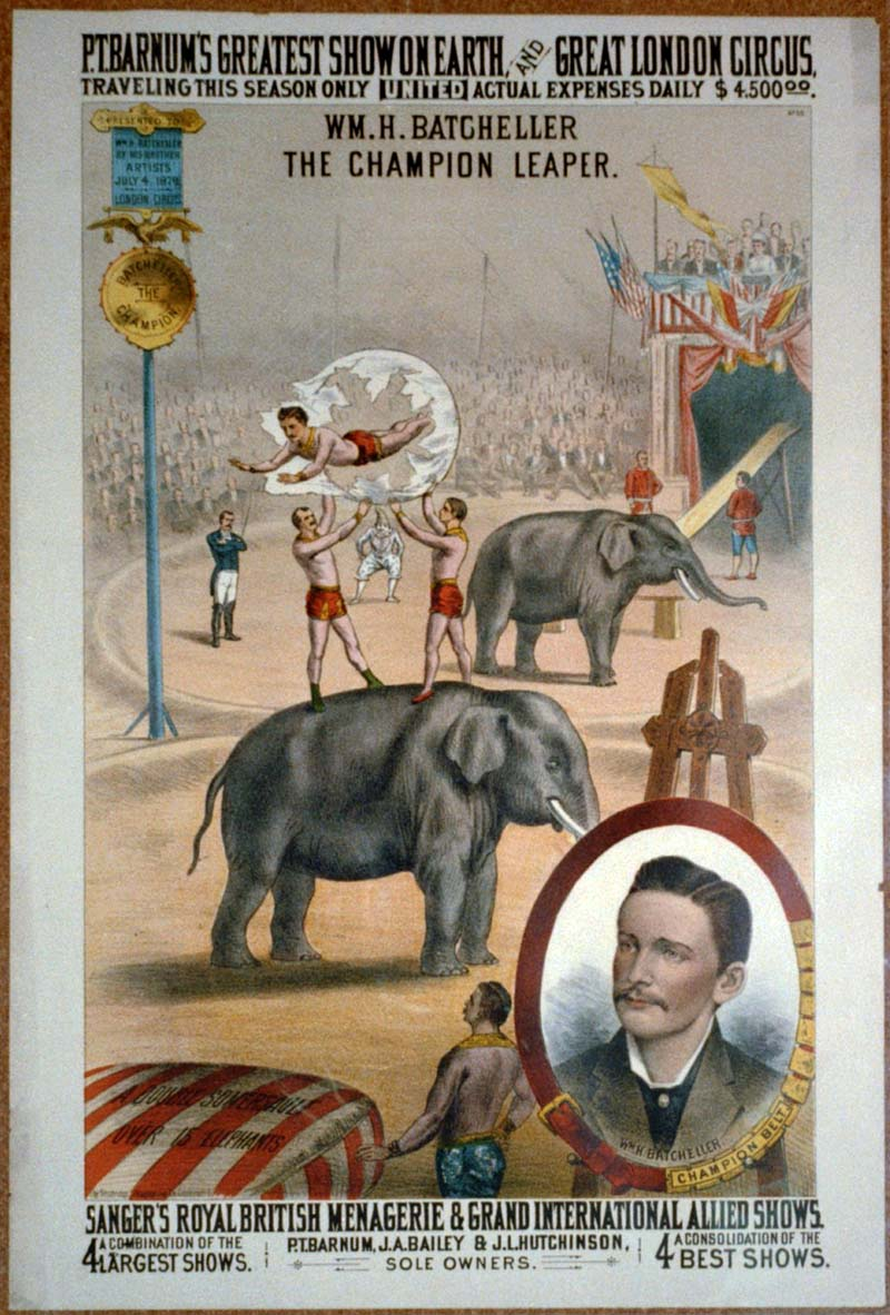 Batcheller the worlds greatest leaper vintage circus poster