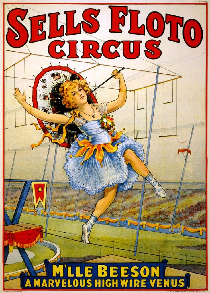 Sells Floto circus Hire wire act. vintage circus posters