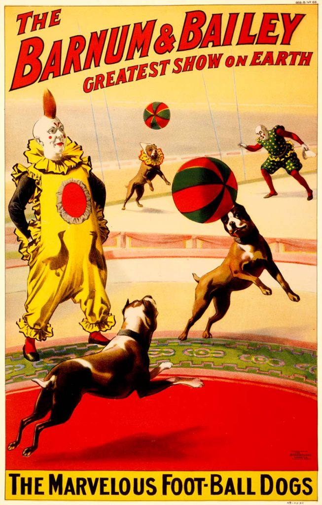 Marvellous football dogs vintage circus posters