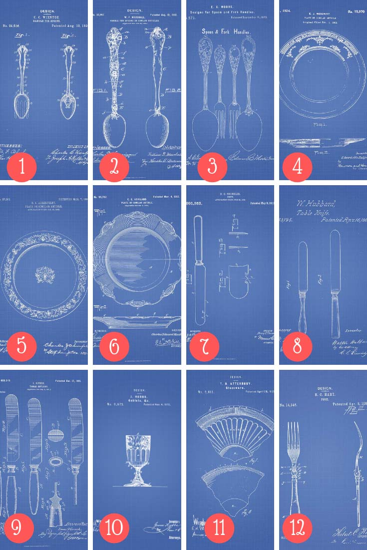 Kitchen patents blueprints for DIY placemats