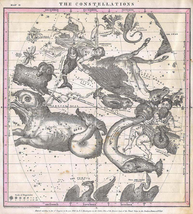 Constellations map posters October November december