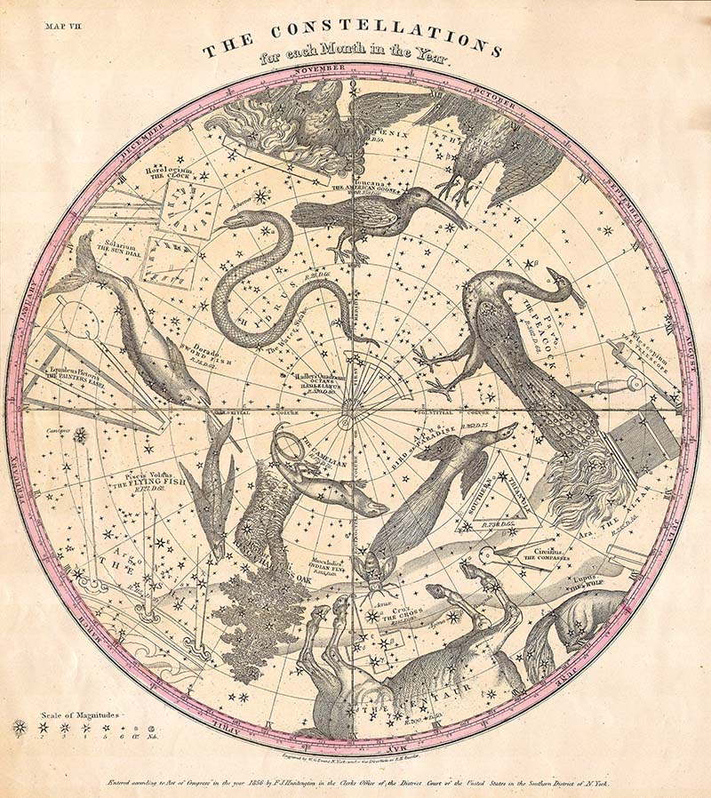 Constellation Map of the Stars of Southern Hemisphere