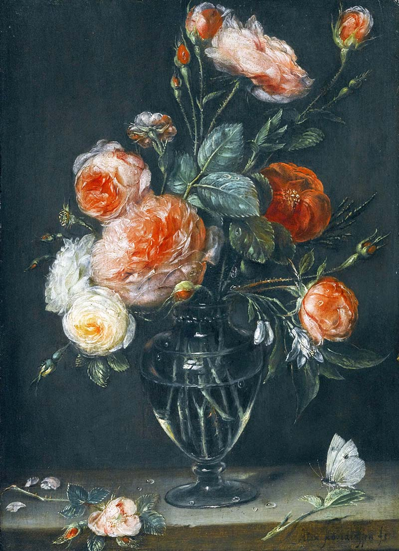 Alexander_Adriaenssen_-_Still_life_of_roses_in_a_glass_jar_on_a_stone_ledge_with_a_butterfly