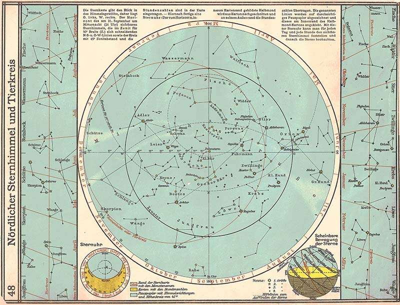 Starry sky of northern hemisphere and zodiac (pattern for construction of a celestial map)
