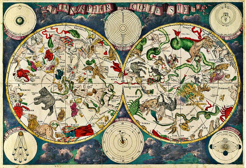 constellation map showing the creatures