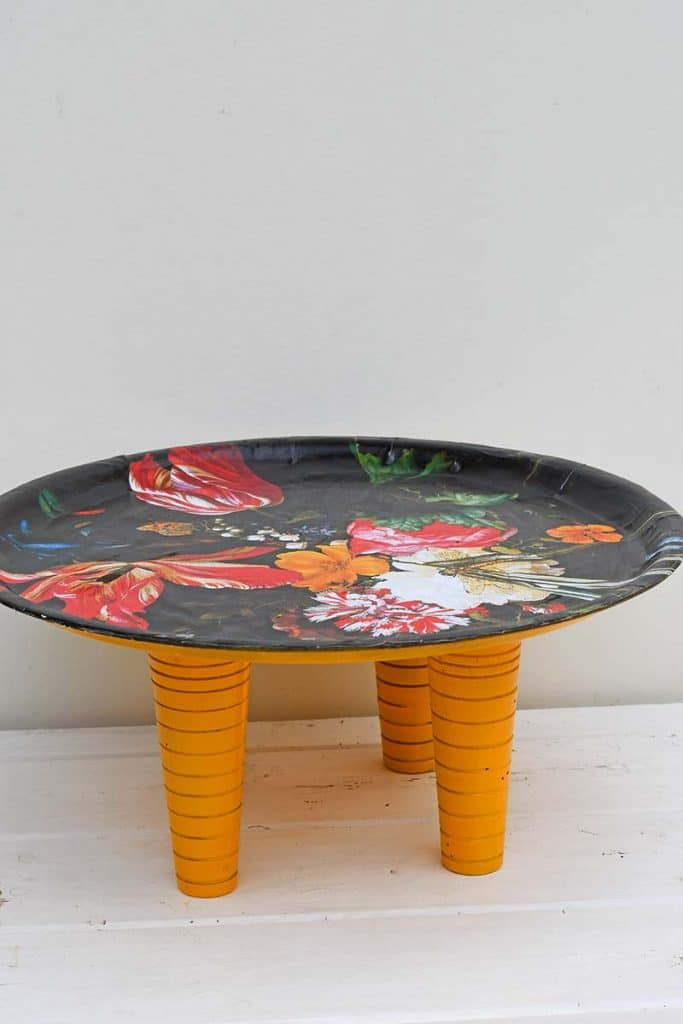 still life upcycled flower decoupage tray