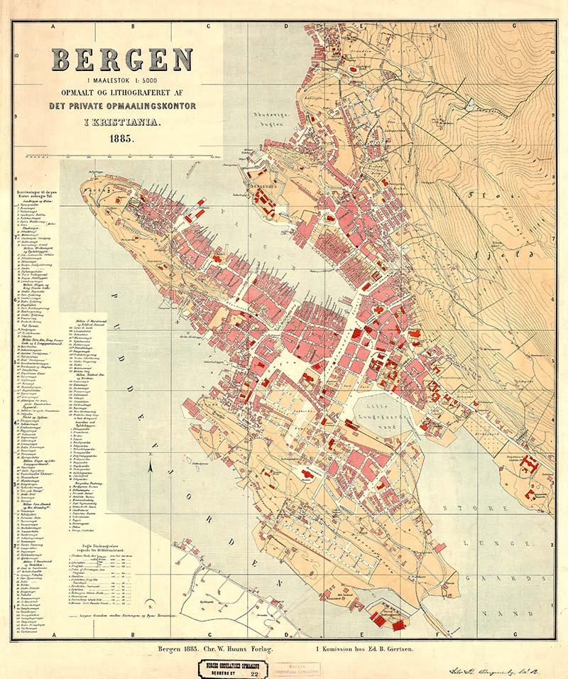 1885 Map of Bergen Norway