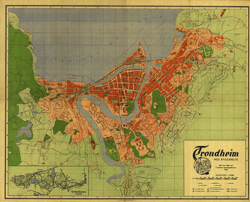 Old maps of Norway Trondheim