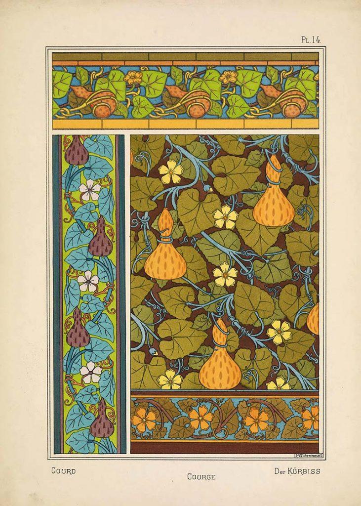 Art Nouveau flower Pattern courge