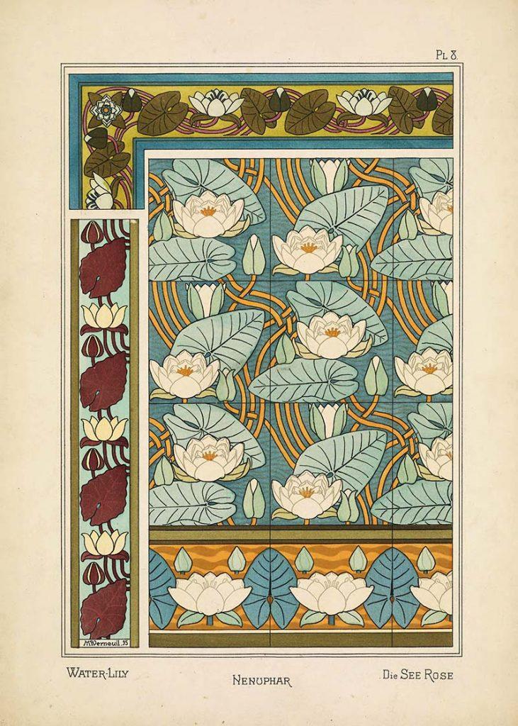 Art Nouveau Flower water lilly pattern