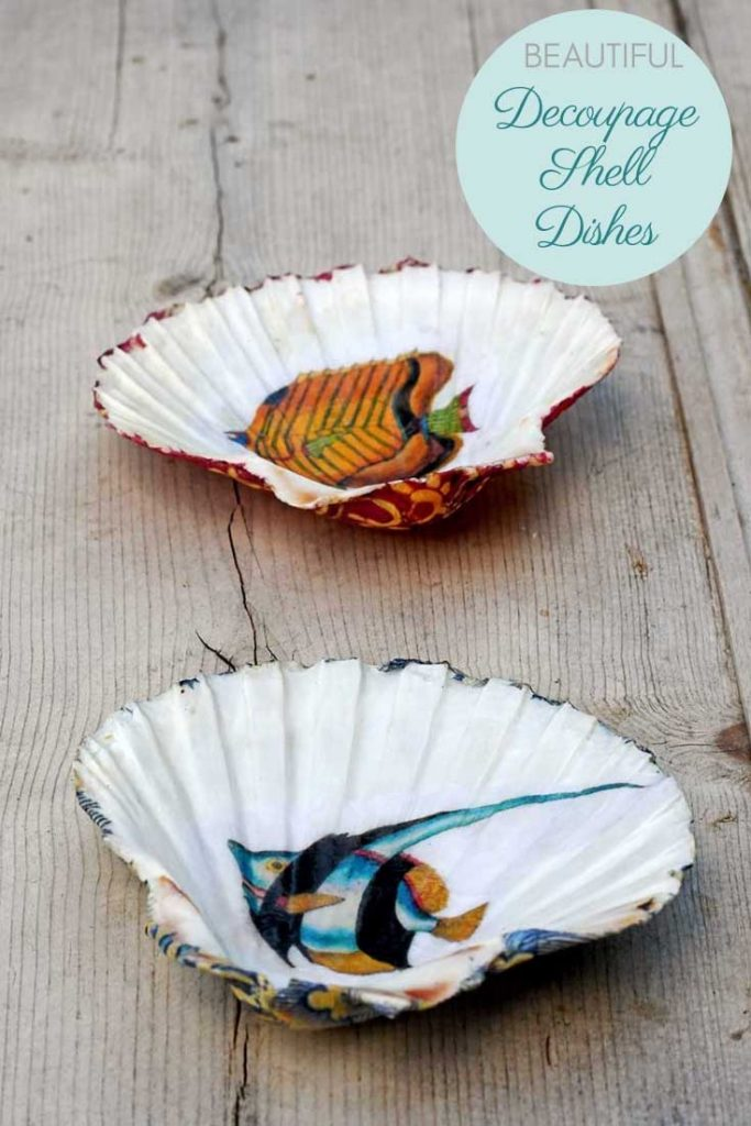 Decoupage shell dishes