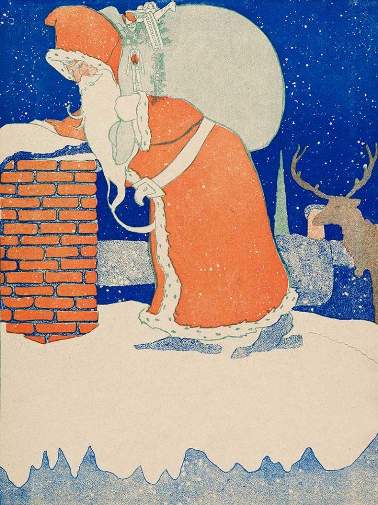 Vintage Santa Claus  and reindeer illustration (1901).