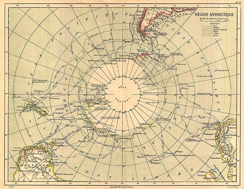 1890 Hachette Map of Antarctica