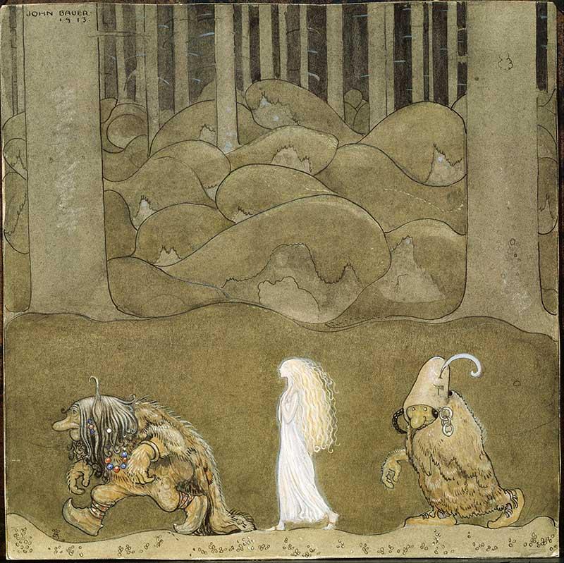 The Princess and the trolls John Bauer art print