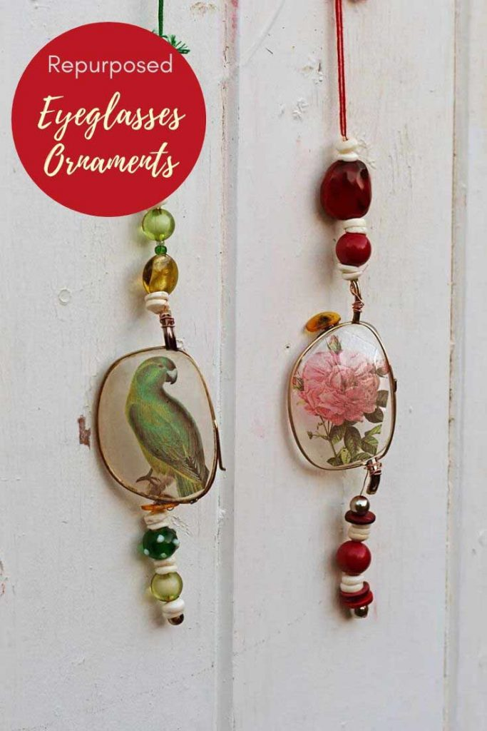 repurposed eyeglasses ornaments
