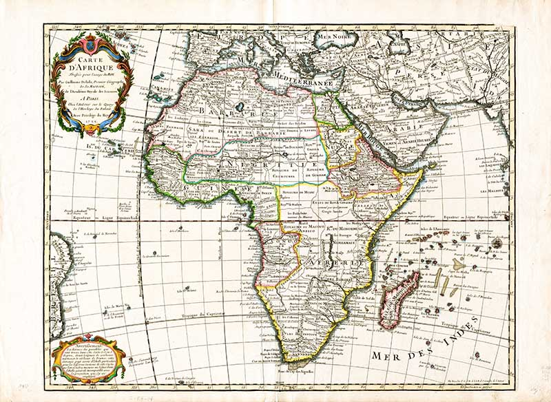 1745 Antique map of the African Continent