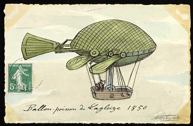 vintage fish shaped hot air balloon art print