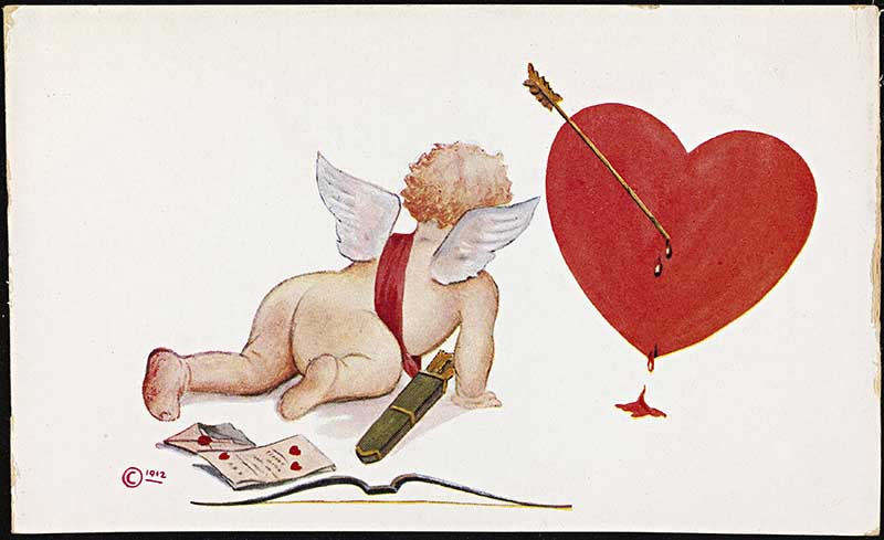 Cupid with heart vintage happy Valentine's day images