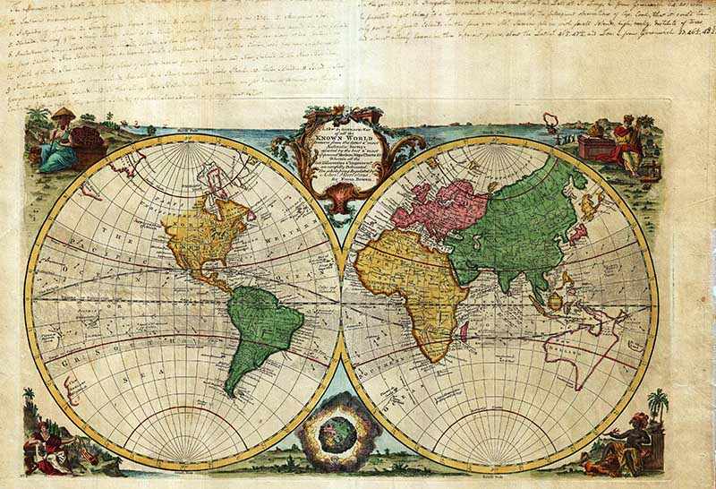 Bowens double hemisphere maps of the world.