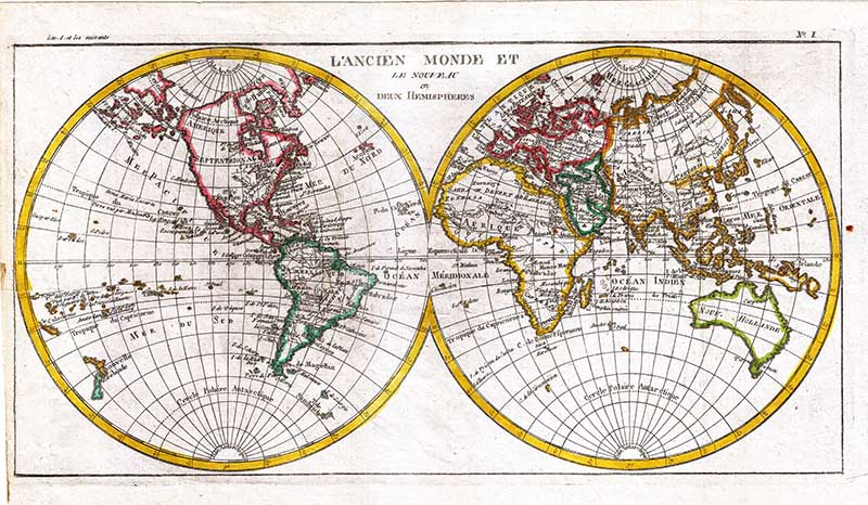 1780 Raynal and Bonne Map of the Two World Hemispheres