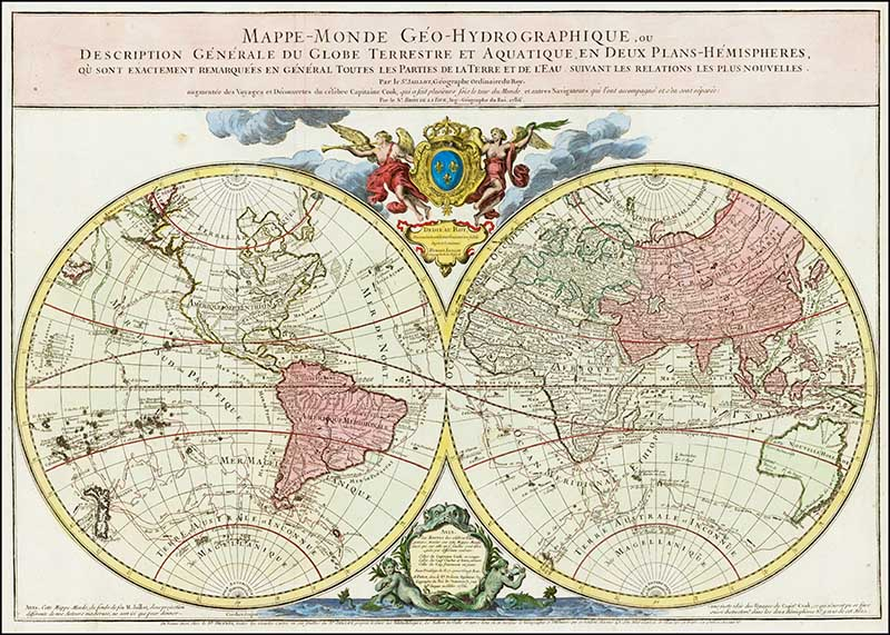 1786 World map hemispheres