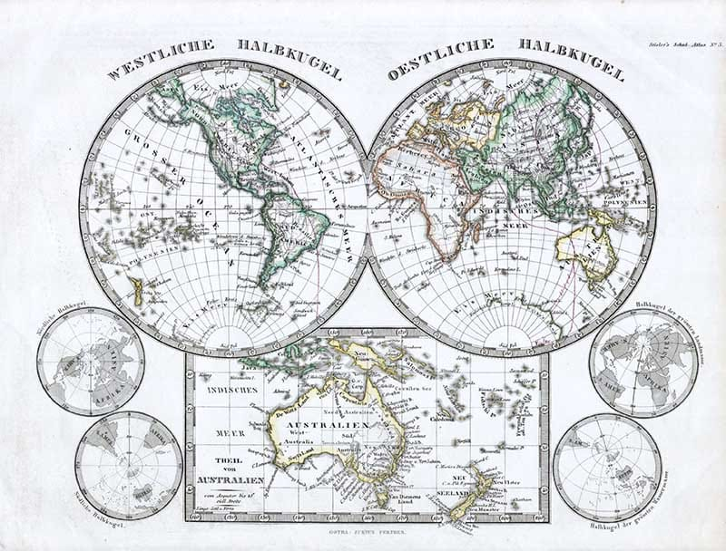 1862 Stieler Hemisphere Map of the World