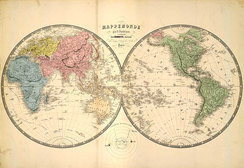 vintage world map double hemisphere