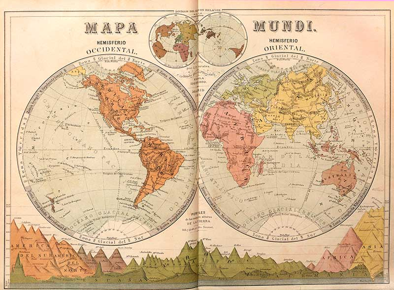 4 hemisphere map of the world