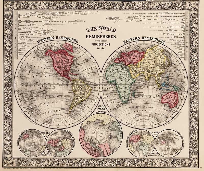 The World in Hemispheres. With Other Projections