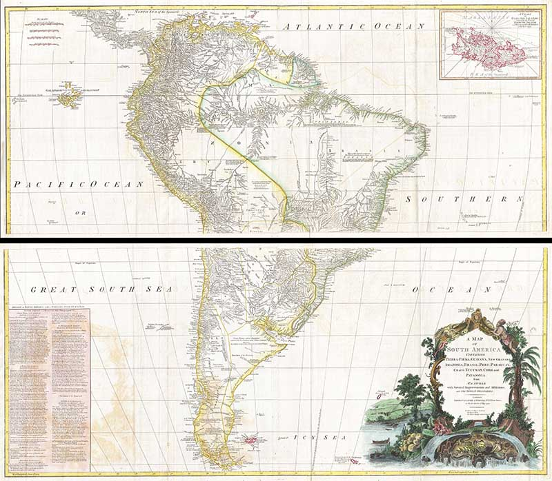 wall map of South America