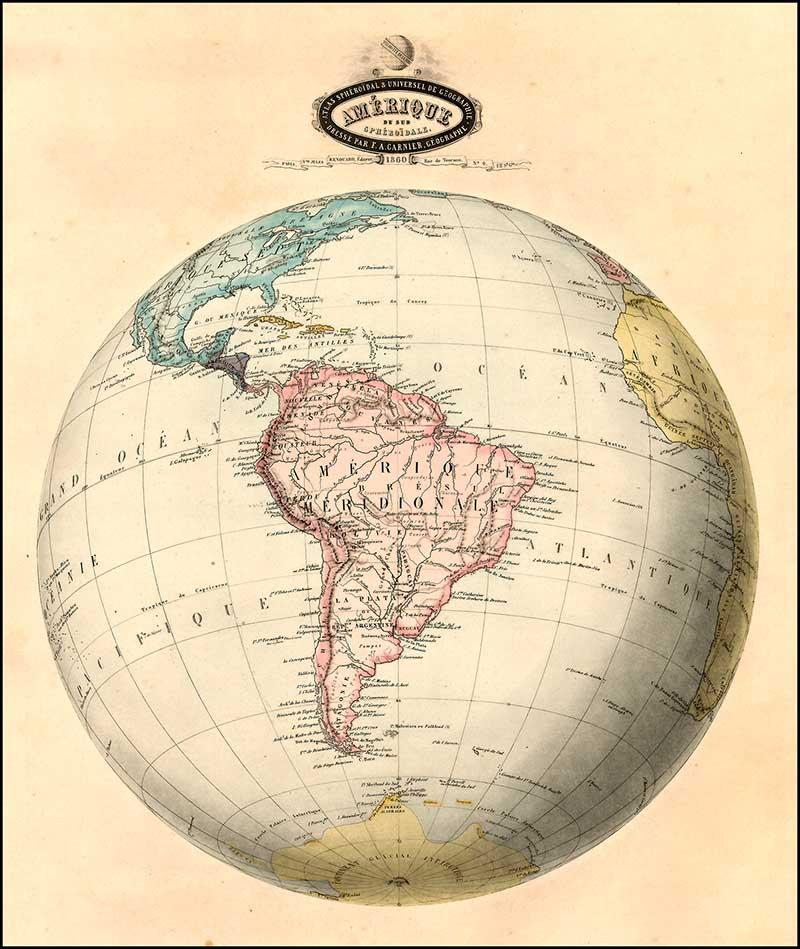 Antique globe map