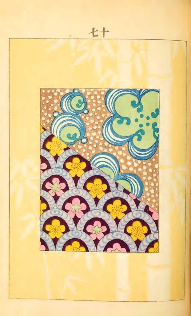 Pattern on yellow bamboo background