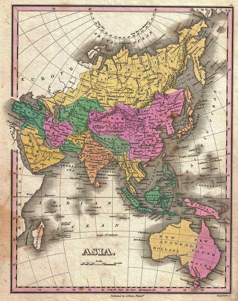 1827 Finleys antigue map of the Asian Coninent