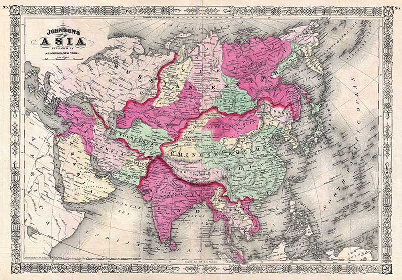 vintage map of Asia