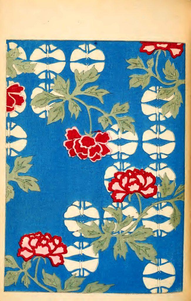 Red Peony Japanese illustrations