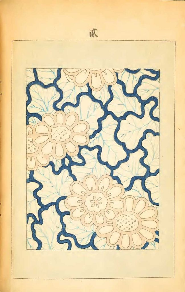 Blue outline flowers leaves