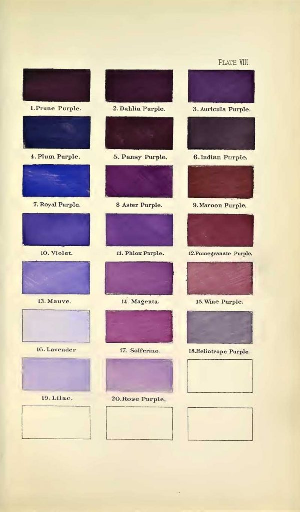 A nomenclature of colors purples