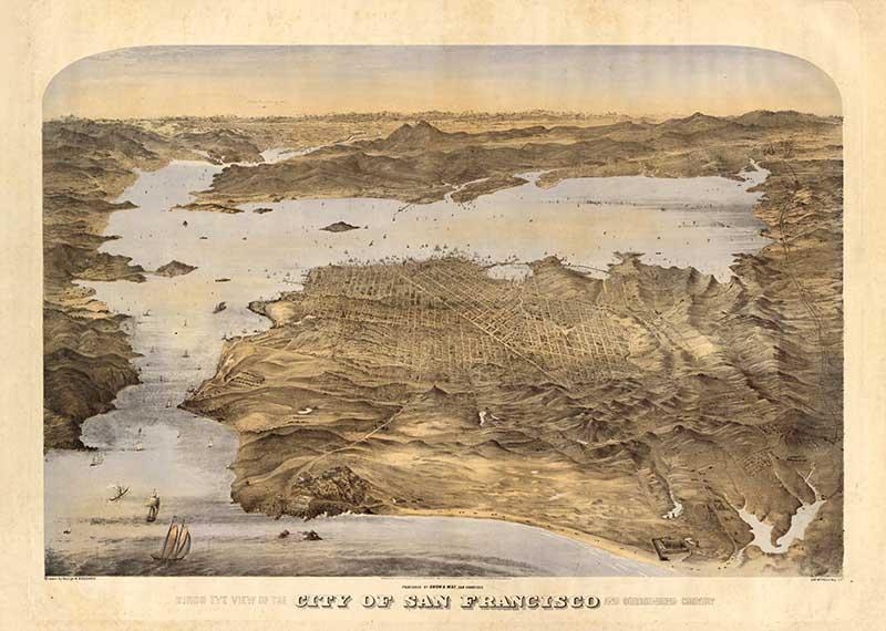 1868 birds eye view map of San Francisco bay area