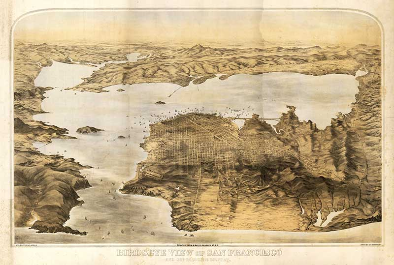 1876 Birds eye view of San Francisco bay