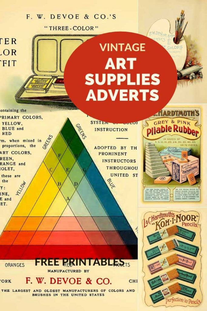 Vintage artist suppies adverts