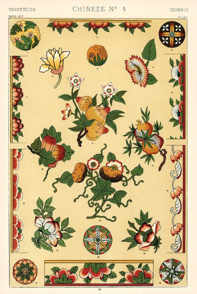 Chinese No 4 vintage pattern illustrations