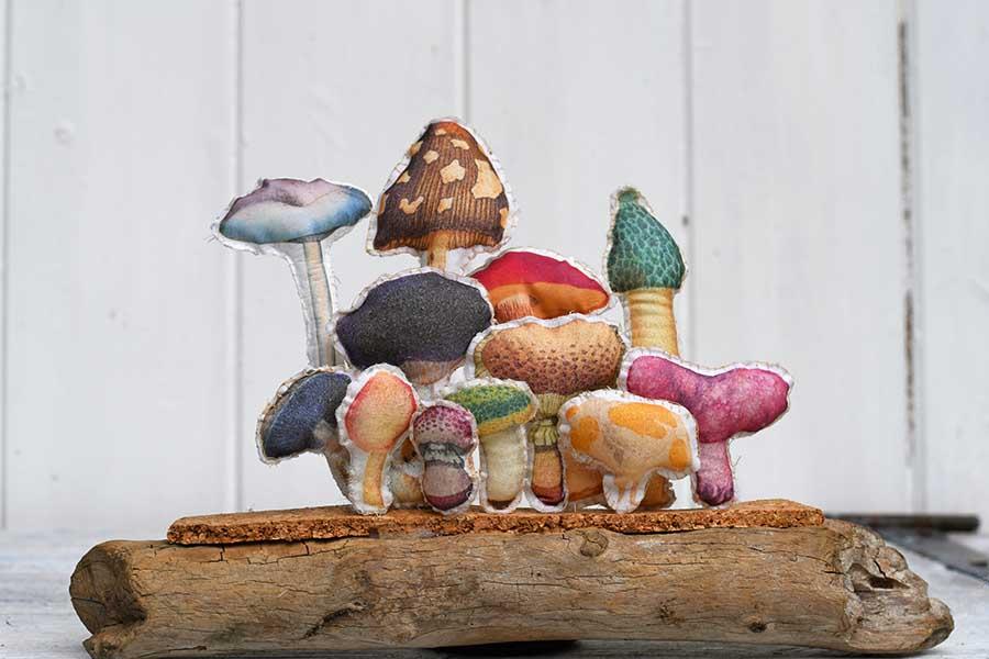 fabric mushroom art
