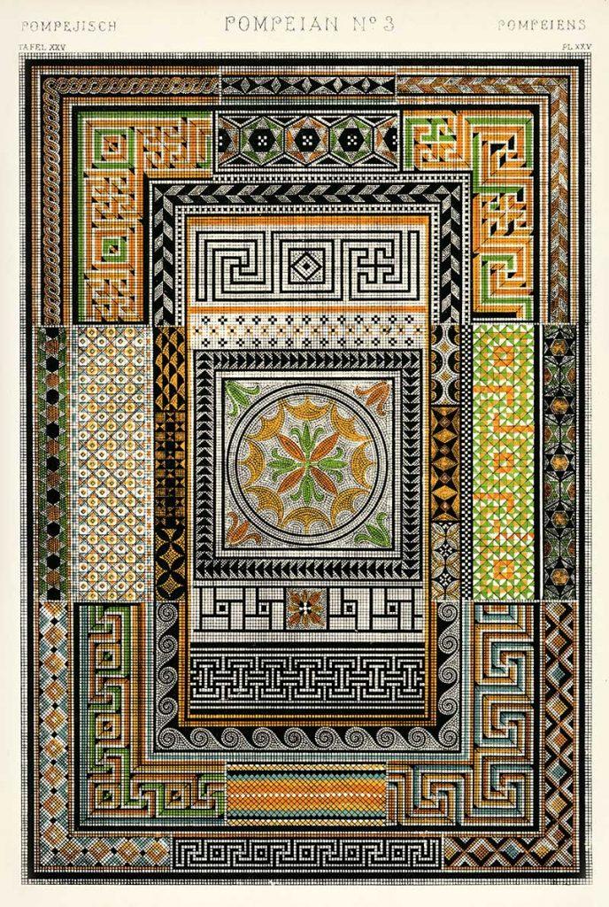 Pompeian mosaics from Owen Jones Grammar of Ornament