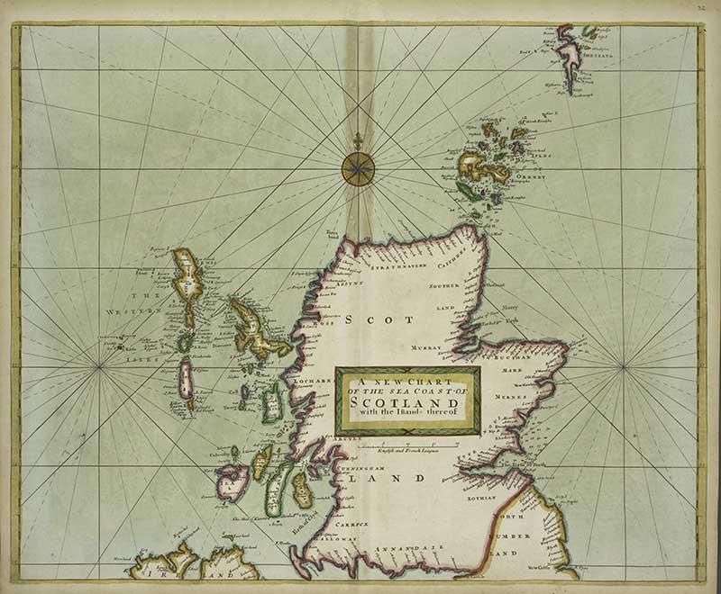 vintage maps of Scotland coast