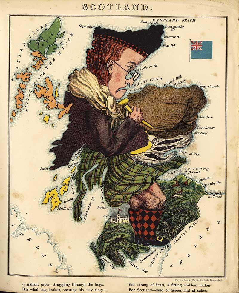 cartoon map of a Scotsman