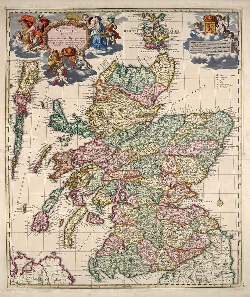 Vintage map of Scotland