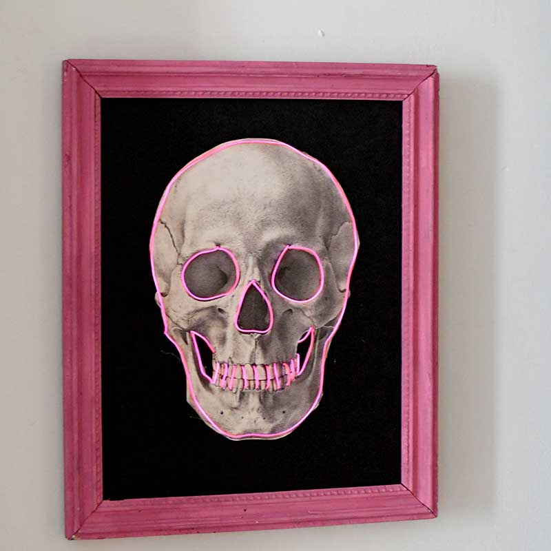 Pink neon DIY skull decor