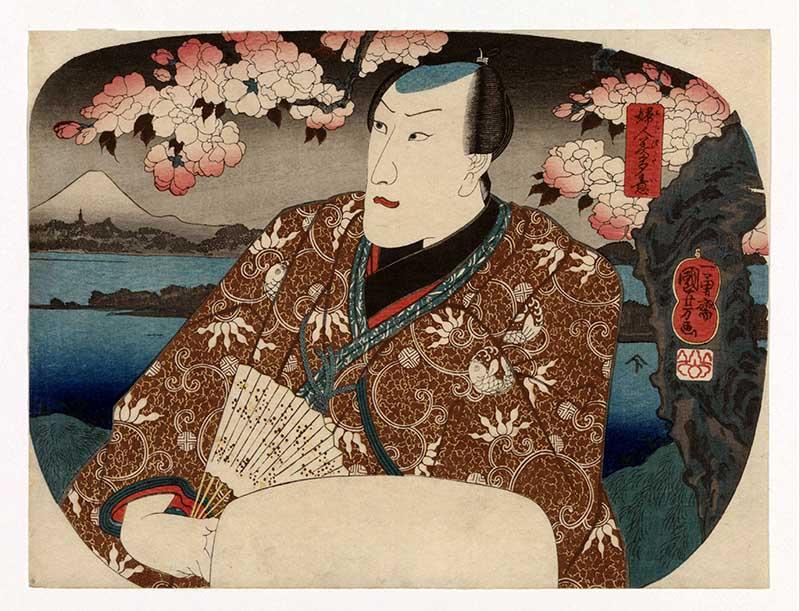 Kabuki actor Japanese woodcut print