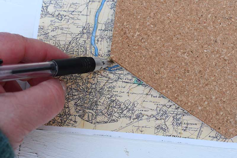 Drawing around the hexagon on map fabric